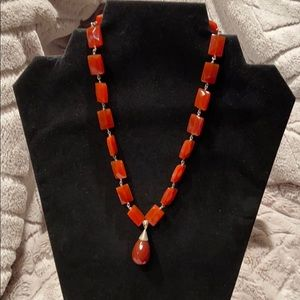 Faceted Cognac-colored Bead Necklace